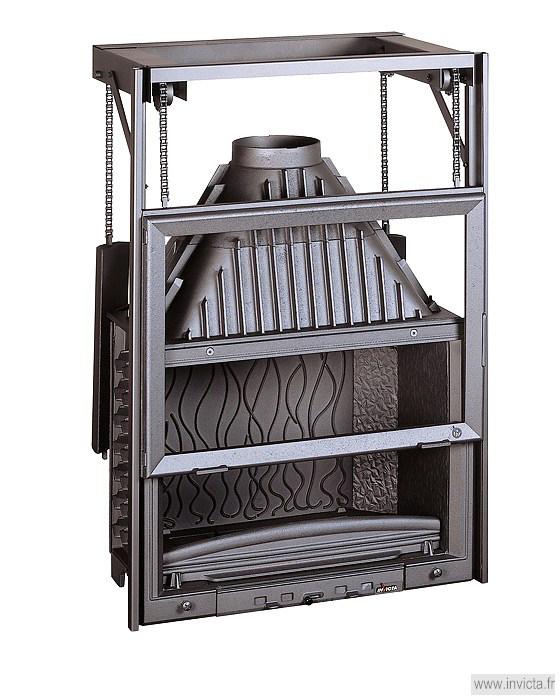 Топки для каминов с подъемным механизмом потолок дымоход из дерева печь
